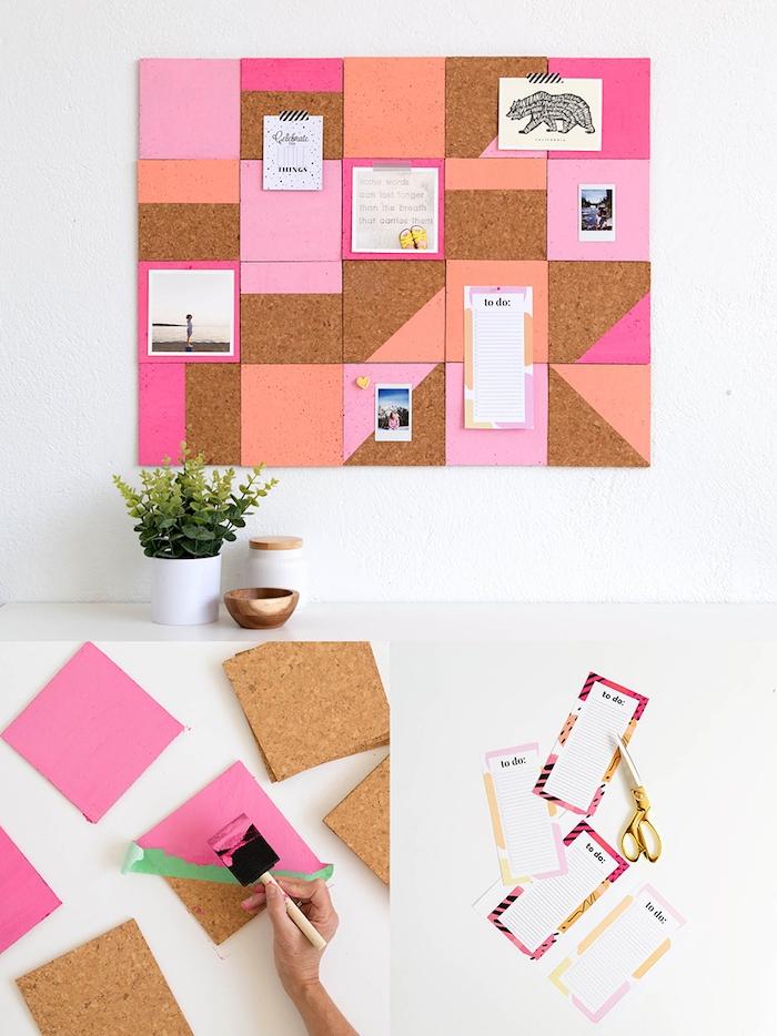 comment fabriquer un organisateur mural carrés dessous de verre en liège personnalisés de peinture motifs geometriques exemple activité manuelle 10 12 ans