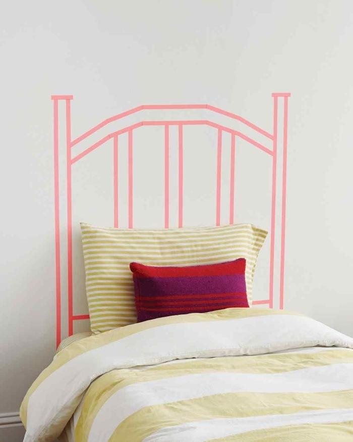 comment faire une tête de lit avec washi tape tete de lit fait maison décoration petite chambre fille couverture de lit blanc et jaune pastel