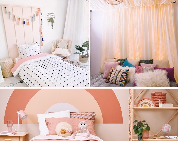 comment faire une tete de lit originale bricolage facile tete de lit avec planches bois guirlande pompons deco chambre enfant a faire soi meme