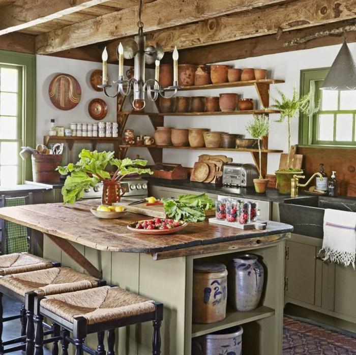 cool idée comment bien décorer moderne cuisine champêtre deco campagne chic plantes vertes lustre fer