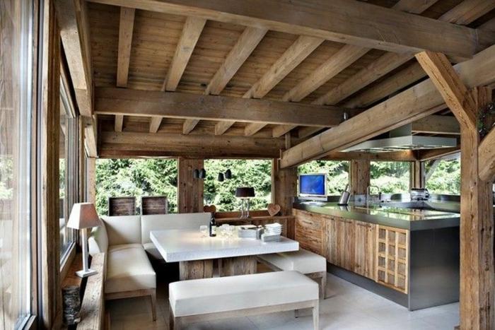 cool maison cuisine campagnarde maison francaise cuisine campagne canapé en angle blanc table bois et blanc