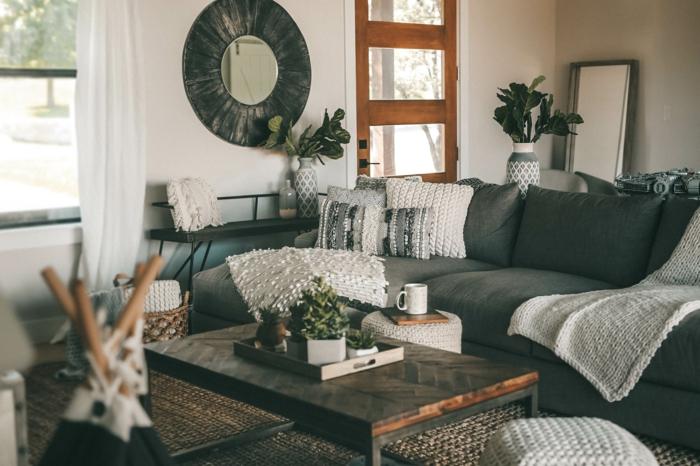 créer une bonne ambiance au salon canapé gris table basse bois déco salon cocooning hygge scandinave style nordique