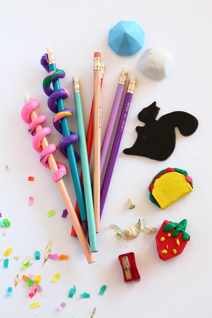 création pâte à modeler gomme à effacer colorée activités manuelles enfants exemple de bricolage pour tout petit rentrée
