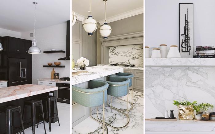 credence cuisine marbre blanc revetement de sol imitation marbre decoration cuisine blanc et noir avec marbre
