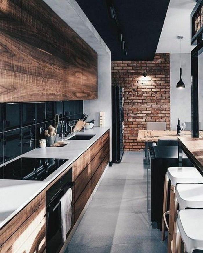cuisine en i longue cuisine style campagne ferme chouette idée comment décorer mur en briques meubles en bois