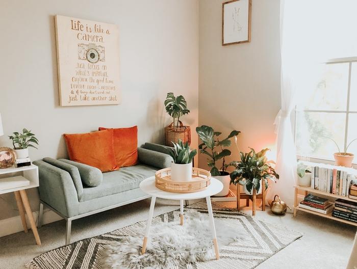 déco salon coussin orange canapé gris table blanche tapis fausse fourrure grise meubles bois plantes vertes intérieur cadre photo bois