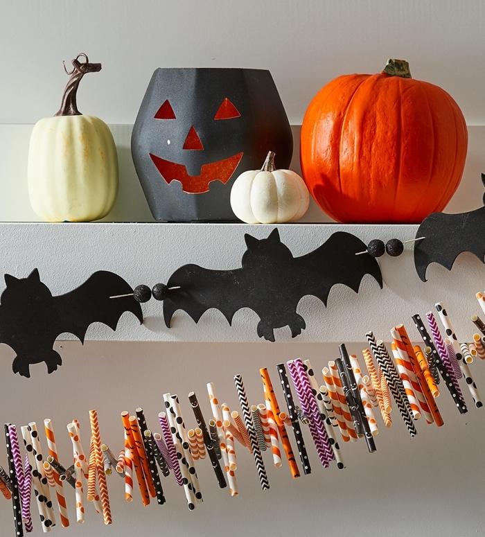 décoration halloween a fabriquer chauve souris papier noir art origami facile halloween lanterne papier cartonné noir