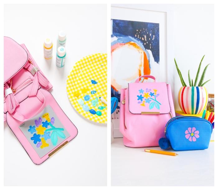 décoration sac à dos motif fleur réalisé au pochoir en peinture colorée idée d activité manuelle rentrée des classes école