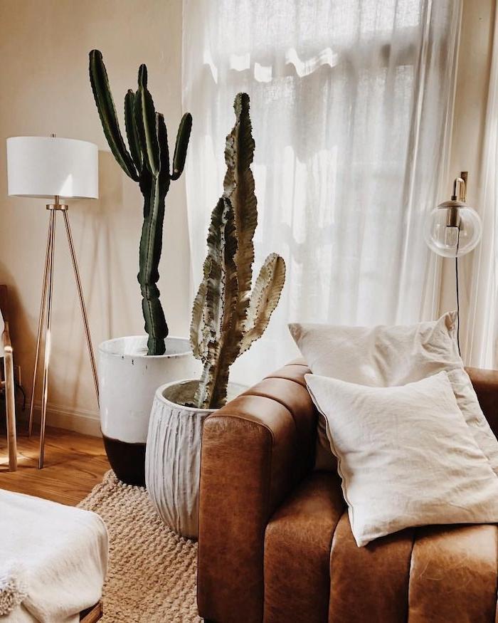 de gros pots de cactus à coté de canapé marron sur tapis tress;e0mur beige rideaux blancs