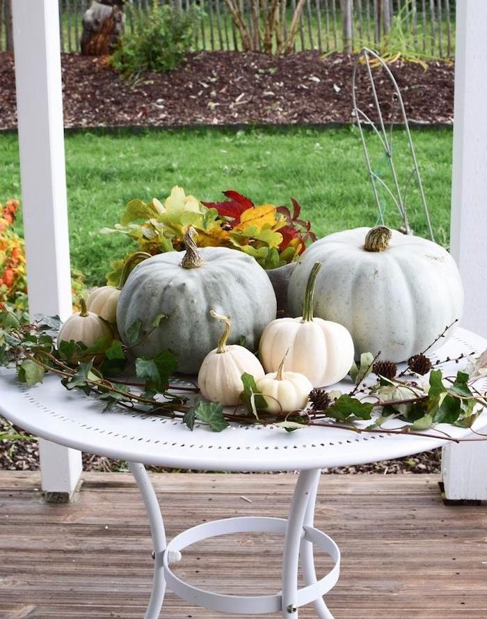 deco automne exterieur constituée de feuillages d automne citrouilles pommes de pin et branches