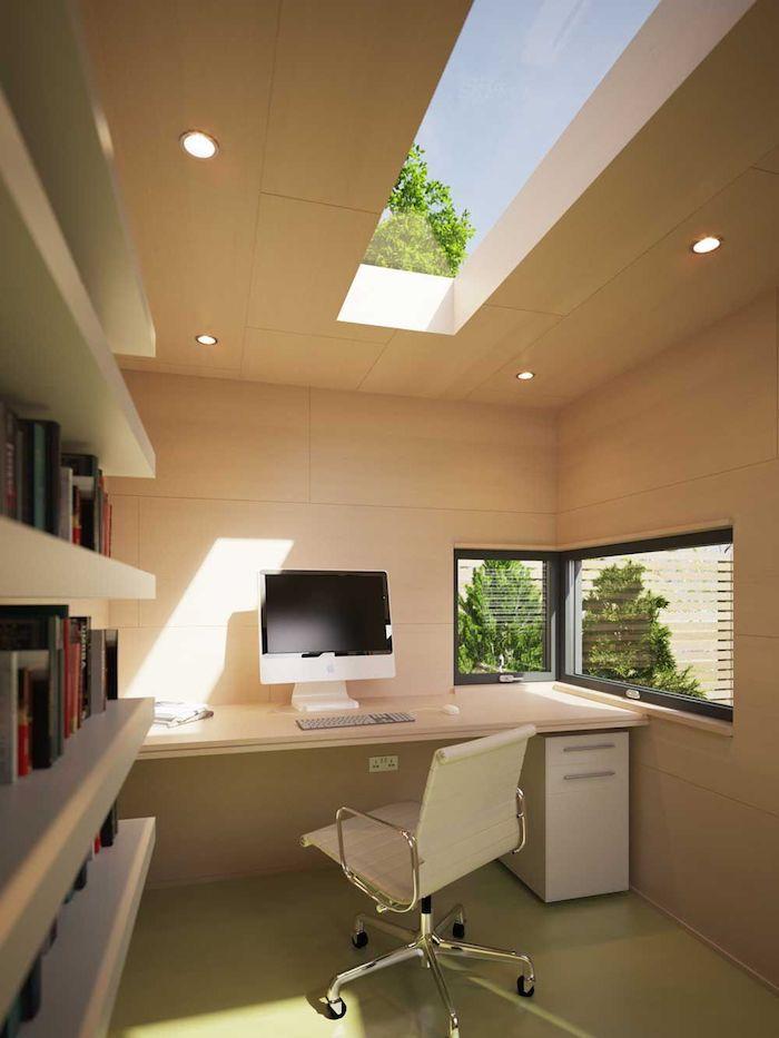 deco bureau moderne tout en blanche un toit ouvert espace petit mai lumineux