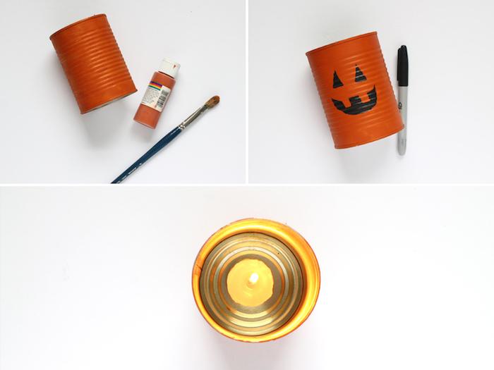 deco halloween diy fabriquée dans boite de conserve décorée motif jack o lanterne et peinture acrylique idee deco maison soirée halloween