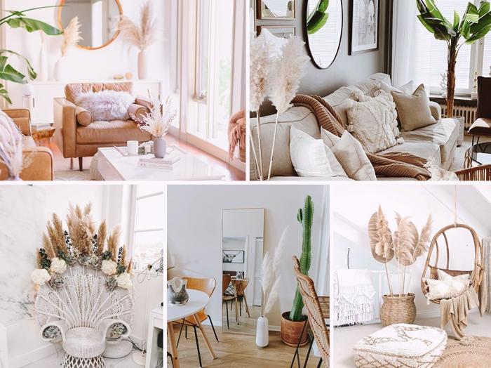 deco salon boheme chaise paon blanche meubles fibre naturelle accessoires herbe de pampa design interieur