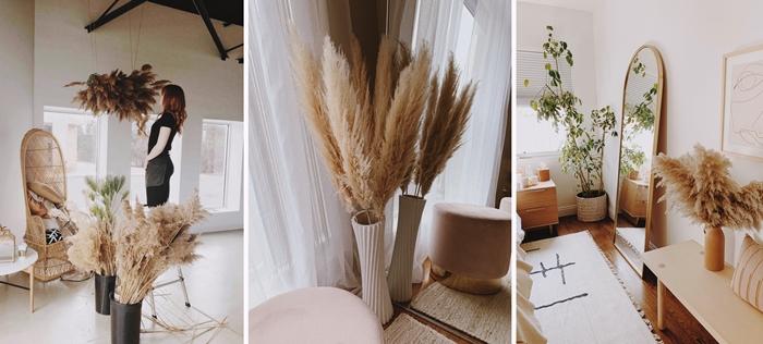 decoration d automne interieur salon style boheme chaise paon rotin fibre naturelle accessoires tiges de fleur de pampas