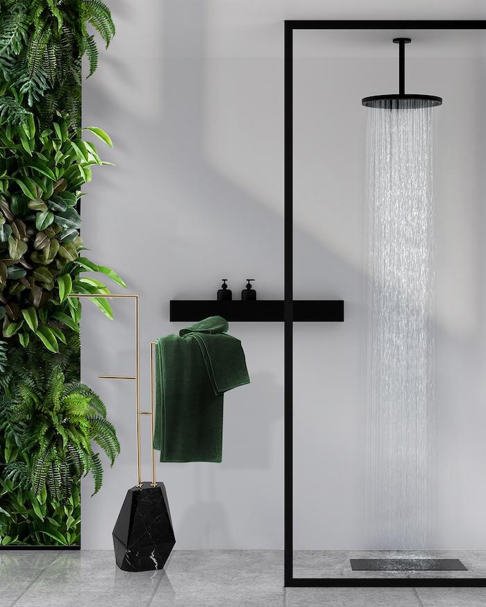 decoration de salle bains style minimaliste et moderne plantes vertes douche