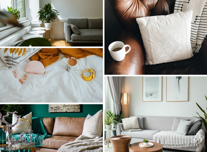 decoration tendance automne hiver 2020 style scandinave minimalisme fauteuil club cuir coussin crochet accessoires macrame