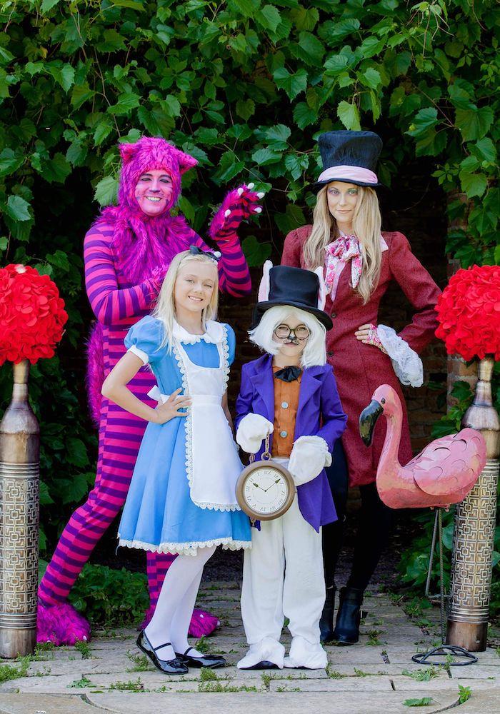 deguisement halloween fait maison costume en raies roses syle le magicien d oz alice des flamingos roses