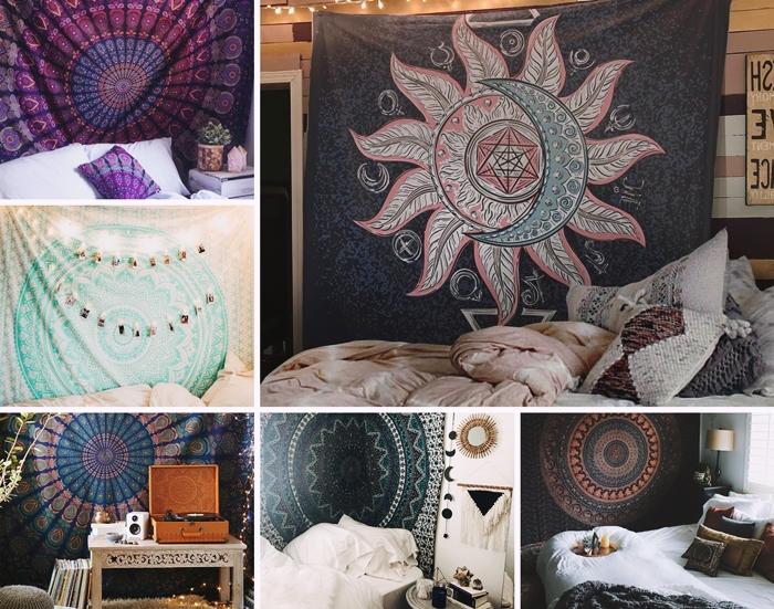 design chambre boheme revêtement mural panneaux bois peints tableau inspiration déco lit cocooning tenture murale guirlande lumineuse led