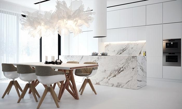 design cuisine blanche style intérieur moderne luxe idee deco cuisine ouverte salle à manger gris et blanc îlot marbre blanc