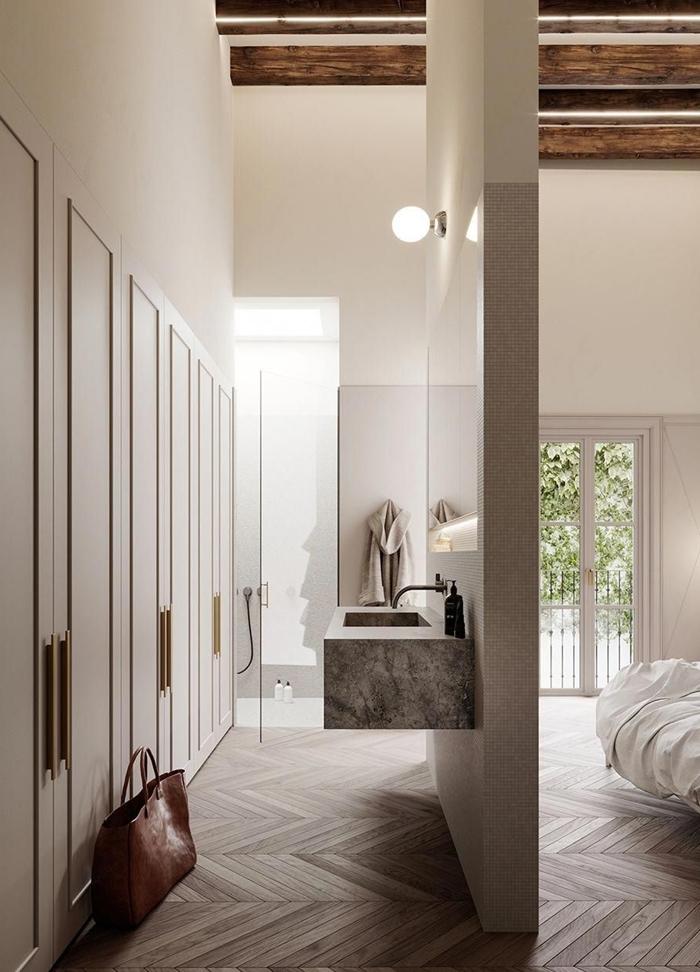 design intérieur chambre avec dressing et salle de bain parquet bois clair plafond avec poutres bois foncé miroir garde robe