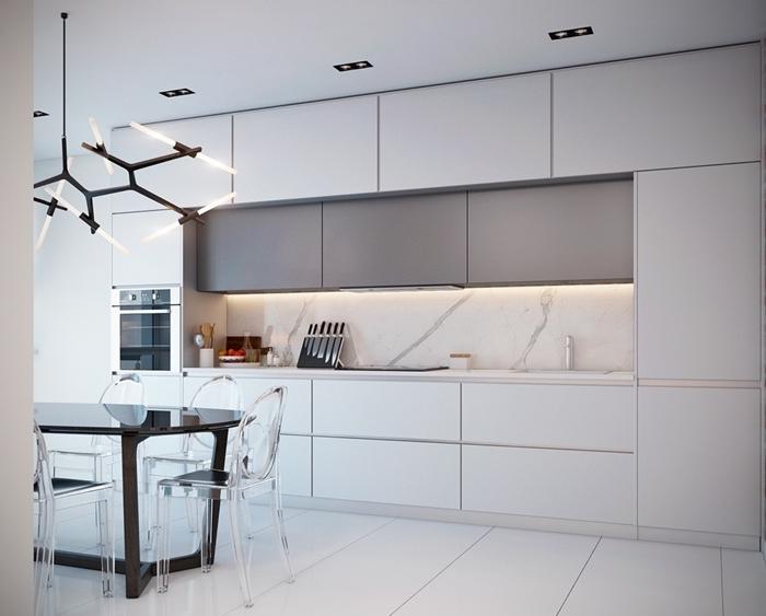 design intérieur style épuré déco cuisine moderne luxueuse luminaire noir mat éclairage spot led cuisine marbre blanc