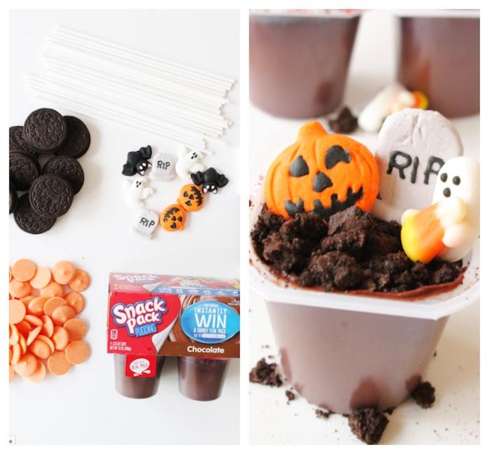 dessert halloween facile et original pudding en pot avec des biscuits émiettés et décoration de bonbons de halloween