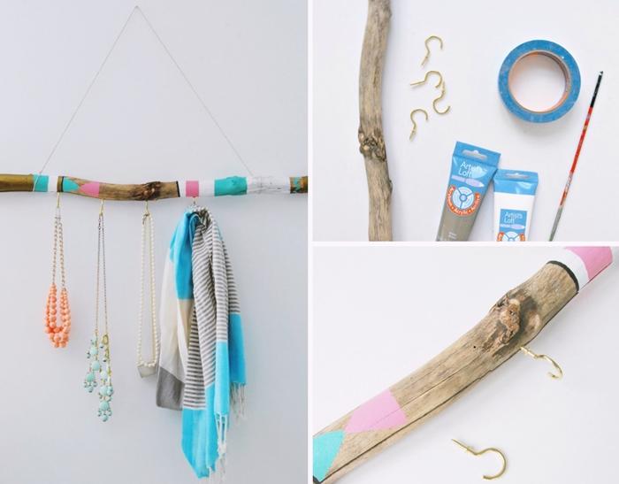 diy accroche bijoux en branches de bois flotte corde peinture acrylique pinceau deco murale a faire soi meme
