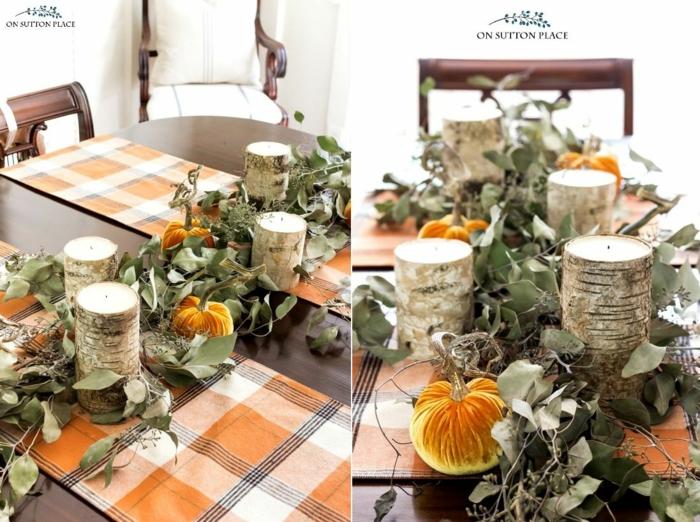 diy idee bougies et citrouilles bricolage automne facile activités manuelles automne deco table feuilles d arbre pour deco