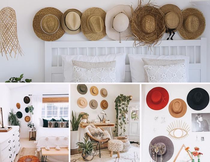 diy tete de lit deco chambre boheme avec capeline paille cadre lit bois blanc plantes vertes interieur style boho chic