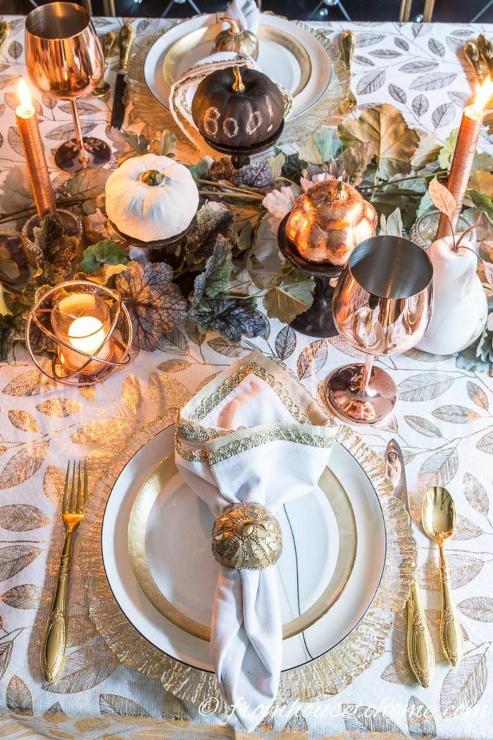 doré déco assiette et coutellerie déco table d automne bricolage automne facile inspiration citrouilles peintes