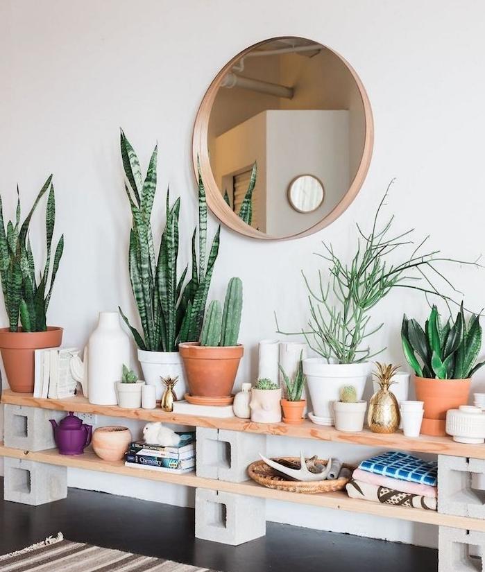 etagere beton et bois surchargée de cactus en pot petites decorations et details deco plante appartement deco boheme chic