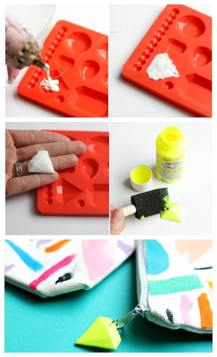 exemple d activité manuelle 6 ans primaire avec des motifs abstraits en peinture dessinés sur pochette étui à crayon diy coloré