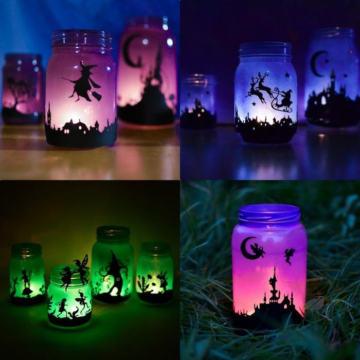 exemple d activité manuelle halloween originale recopier des silhouettes motif halloween sur l extérieur d un pot en verre