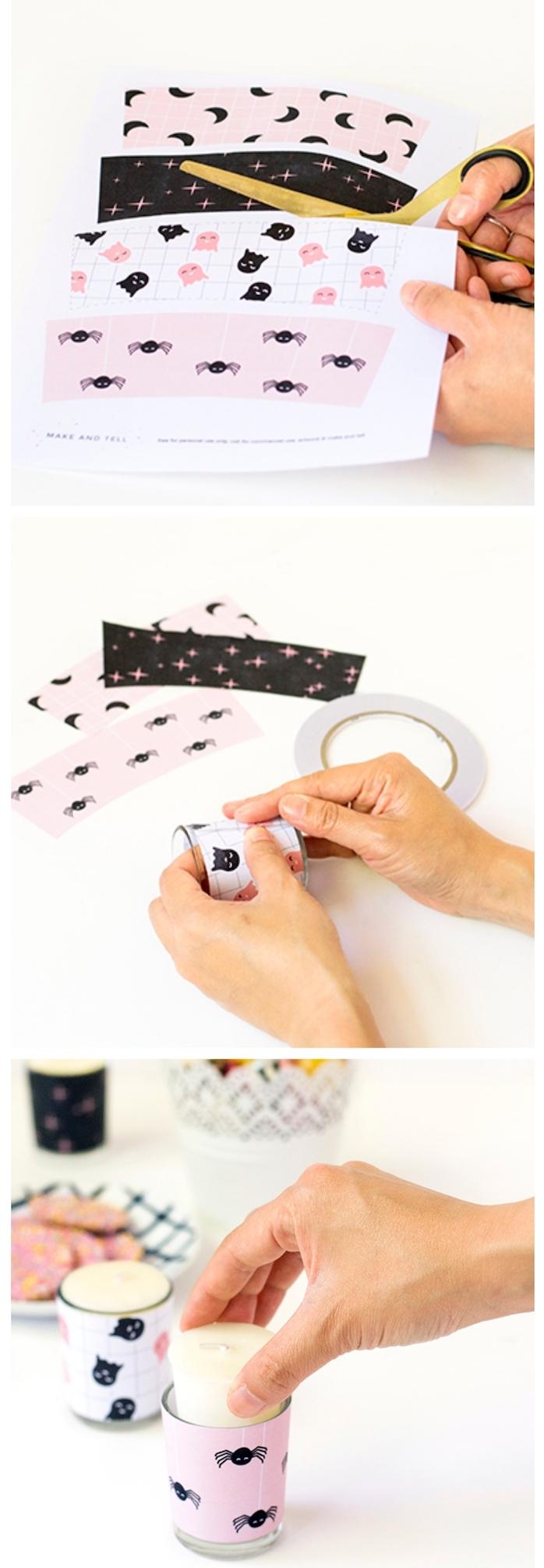 exemple de bricolage halloween maternelle bougeoirs décorés de papier scrapbooking motif halloween à coller sur les pots en verre