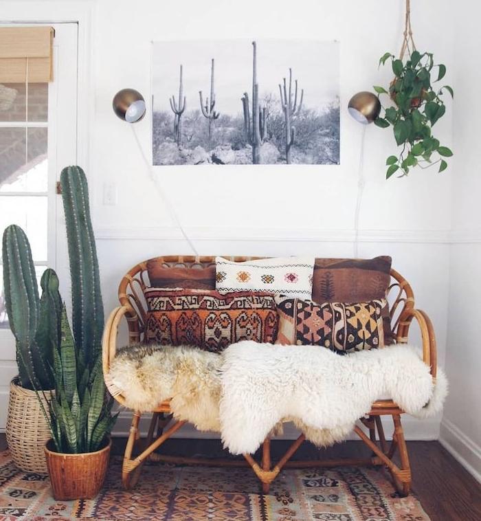 exemple de plante salon cactus osier et plante succulente à coté de canapé rotin coussisn azteque plaids fourrure tapis oriental