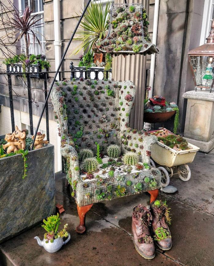 exemple-de-plante-verte-intérieur-fauteuil-motif-cactus-chaussures-cactus-idee-deco-recup-objets-recyclés-jardin-de-terrasse