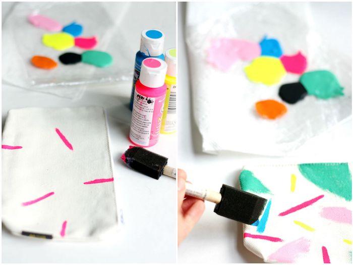 exmeple comment faire un étui à crayons personnalisé de peinture motifs abstraots dessin simple activités manuelles enfants primaire