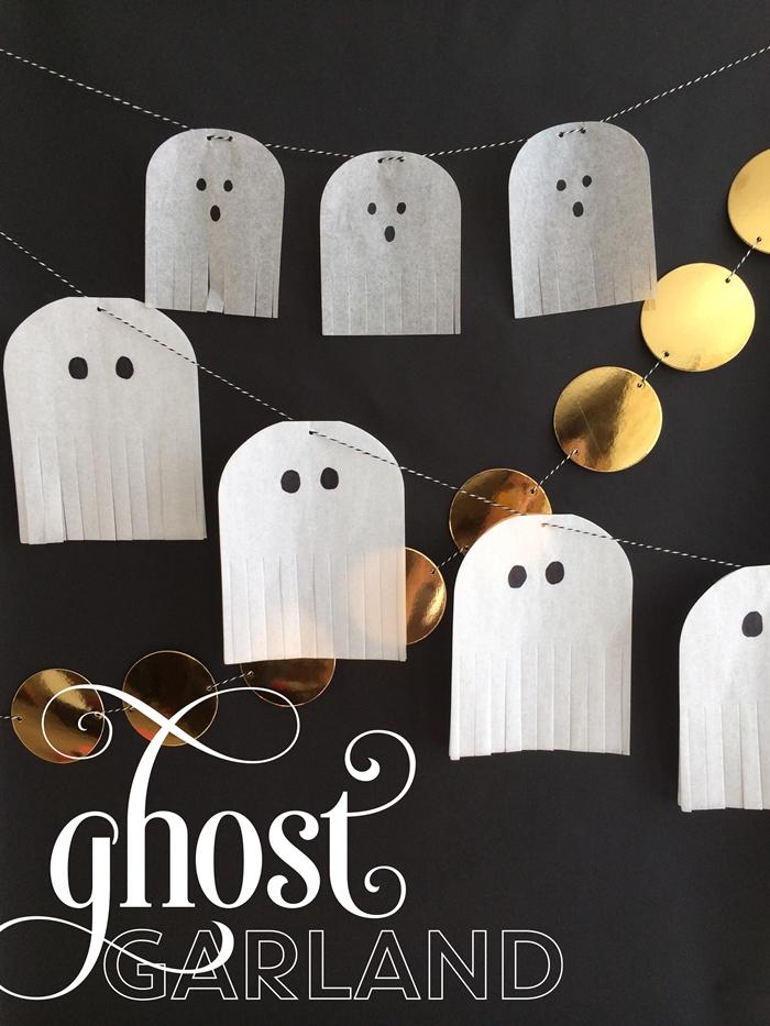 fabriquer deco halloween simple et rapide créations en papier blanc diy fantômes feuille blanche yeux noirs activité octombre