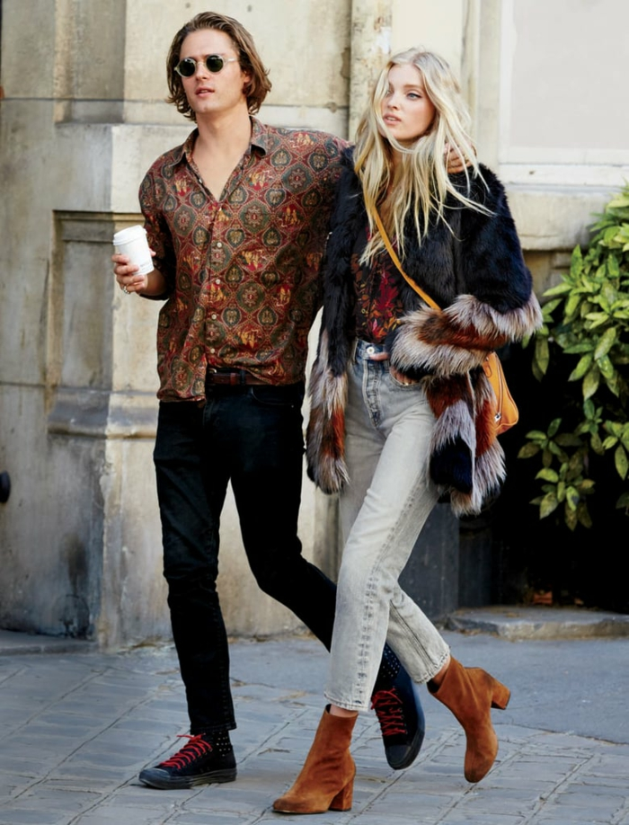 fantastique hippie chic look couple bien habillée tenue vintage tenue parisienne vestiaire des parisiennes être une femme stylée