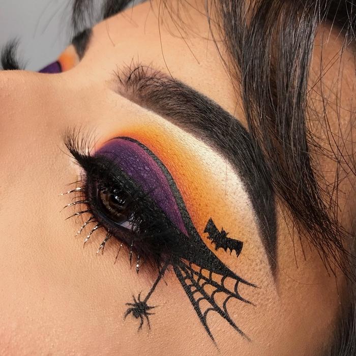 fards à paupières colorés makeup ombres violet orange technique ombré yeux maquillage halloween araignée dessin eye liner