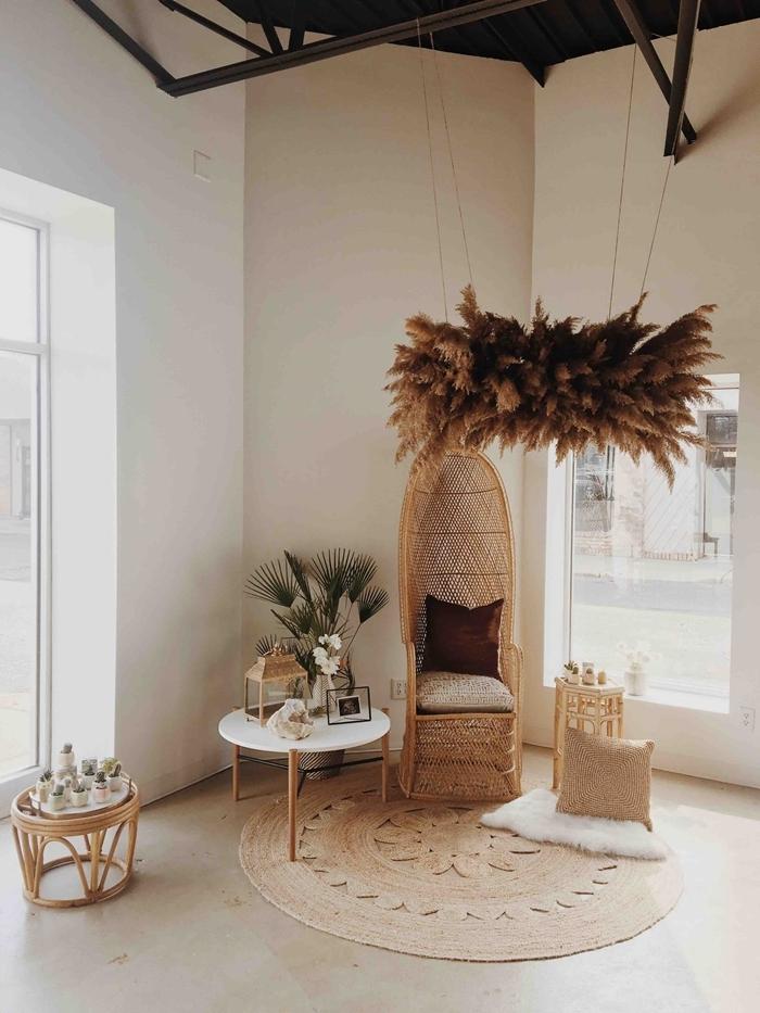 feuille de pampa décoration salon style boho chic moderne intérieur tendance accessoires fibre végétale tapis jute