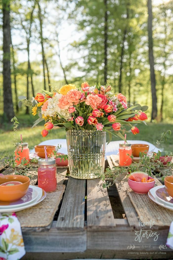 fleurs oranges et jaunes deco table d automne deco de table d automne a faire soi meme table de palettes europeens