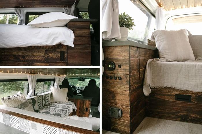 fourgon camping car meubles bois foncé aménagement petit espace fenêtre guirlande lumineuse objets textiles décoratifs