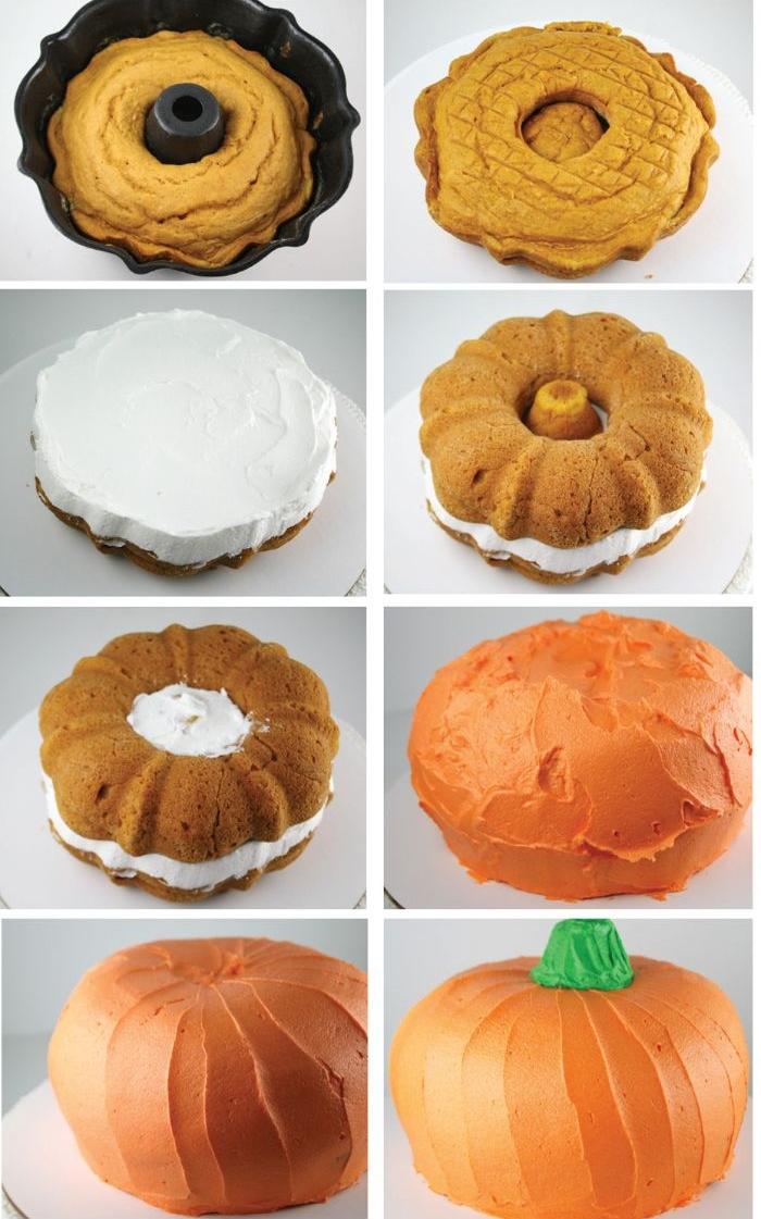 gateau halloween citrouille avec de la genoise simple creme et nappage gateau couleur orange de l exterieur