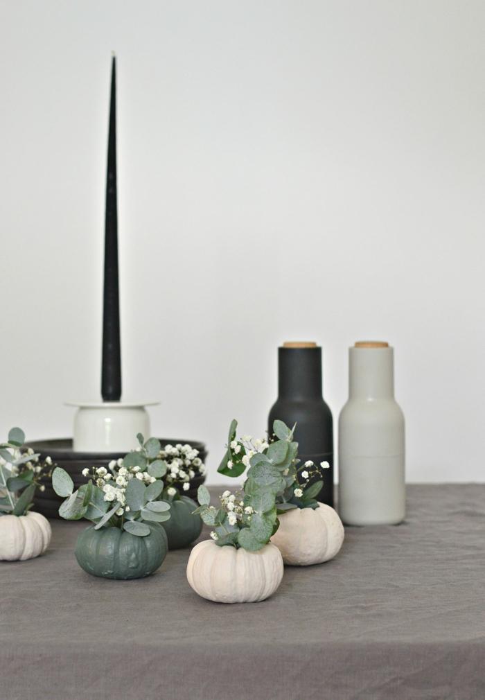 gris et noir décoration mariage automne deco d automne thème automne table diy petit citrouilles avec miniatures bouquets