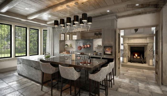idée cuisine bois naturel cuisine campagne chic dans un appartement grands fenetres cheminee allumee