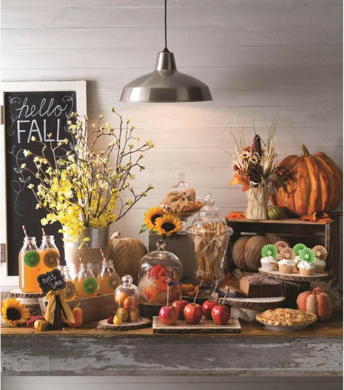 idée table bonjour automne ardoise cupcakes et limonades tendance deco de table d automne a faire soi meme diy deco mariage