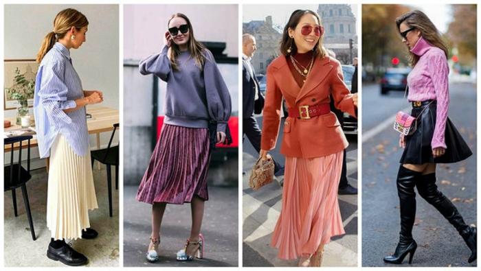 idées de tenue avec jupe plissée jupe longue blanche ensemble femme chic idée jupe tenue femme chemise ou pull et jupe