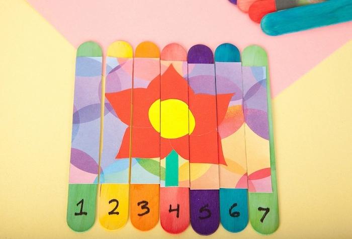 idée activité ludique avec de batonnets de glace apprendre les chiffres puzzle de fleur activité manuelle primaire enfant ludique