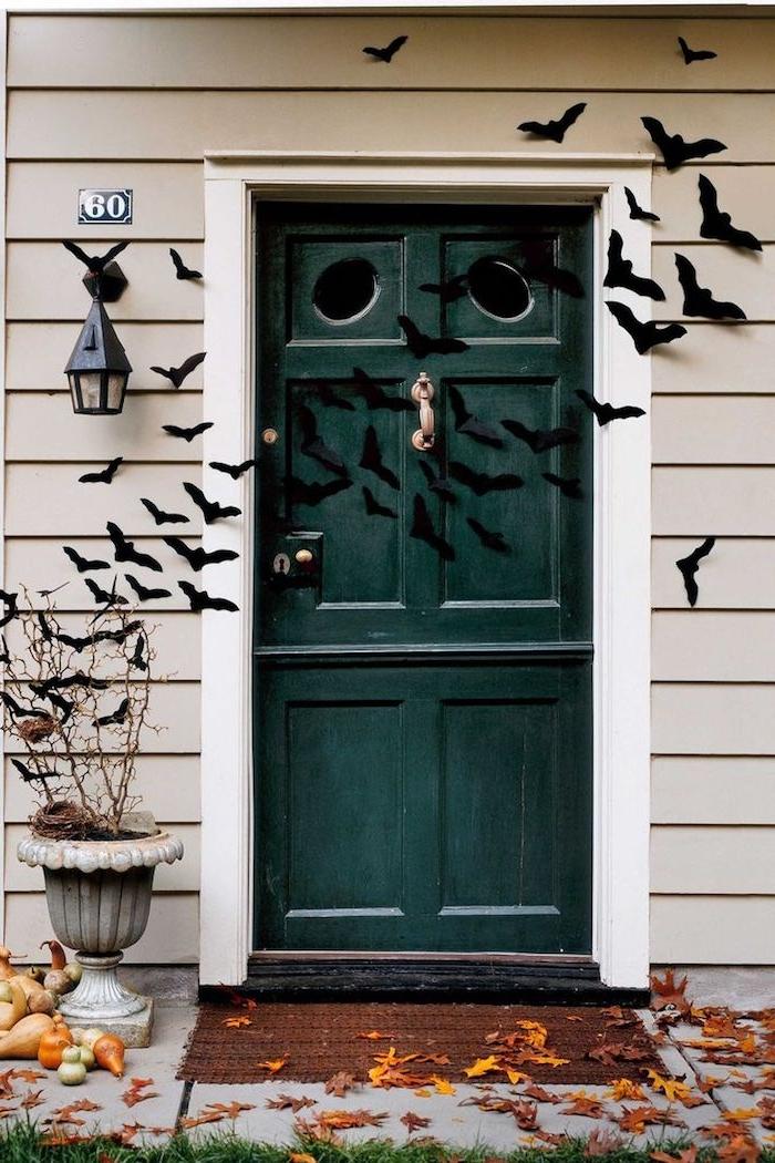 idée de volée de chauve souris de papier pour décorer la porte d entrée petites courges decoratives de tailles variées